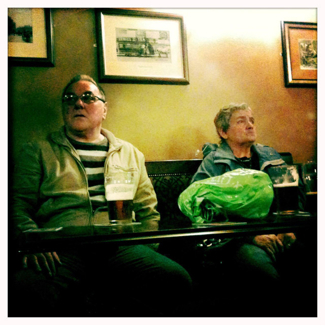 """""""Two people in a pub in Sheffield England"""" stock image"""