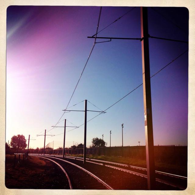 """Tram tracks early morning"" stock image"