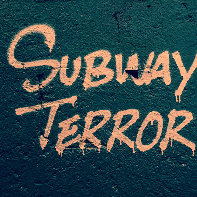 """Subway terror graffiti"" stock image"