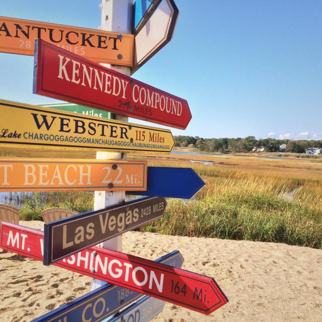 """Directional signs on beach, Yarmounth, Cape Cod , Massachusetts"" stock image"
