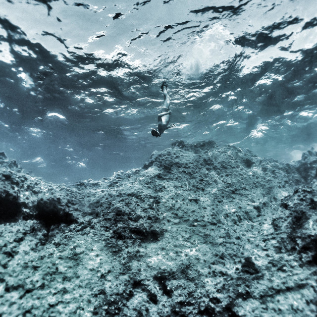 """""""Young male free diver swimming down from the surface of the sea"""" stock image"""
