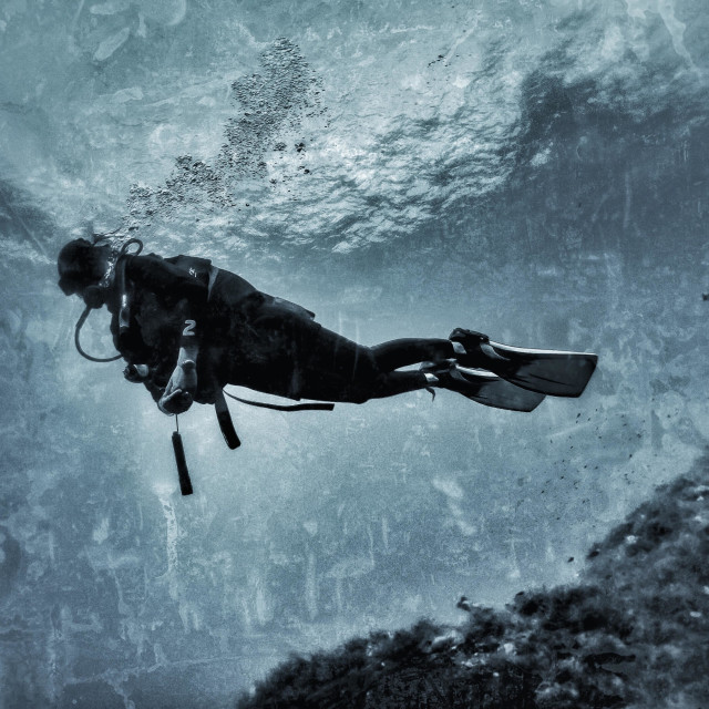 """""""Young female scuba diver hovering in the sea"""" stock image"""