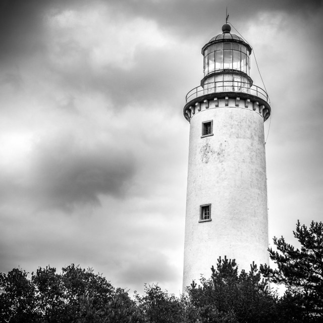"""Lighthouse on Gotland, Sweden in black and white"" stock image"