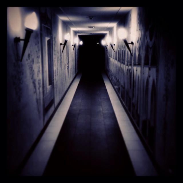 """A terrifying dark corridor."" stock image"