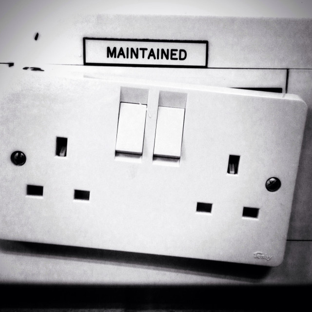 """""""A """"maintained"""" 13amp plug socket that clearly is not maintained"""" stock image"""