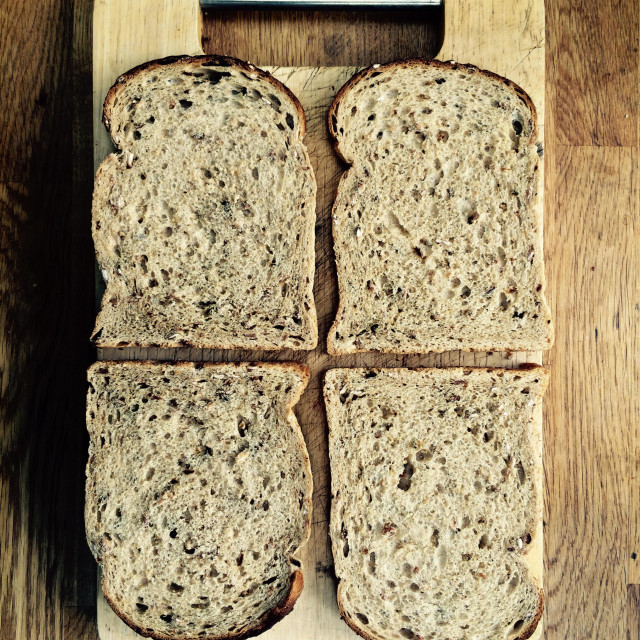 """""""Sliced wholemeal bread."""" stock image"""