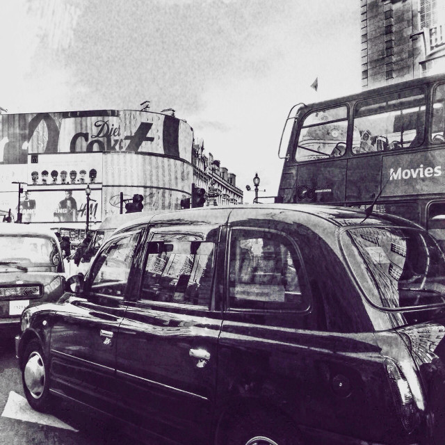 """Traffic on Piccadilly Circus, City of Westminster, Central London, UK"" stock image"