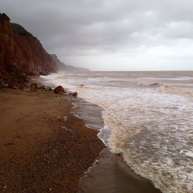 """""""Crumbling cliffs, Sidmouth"""" stock image"""