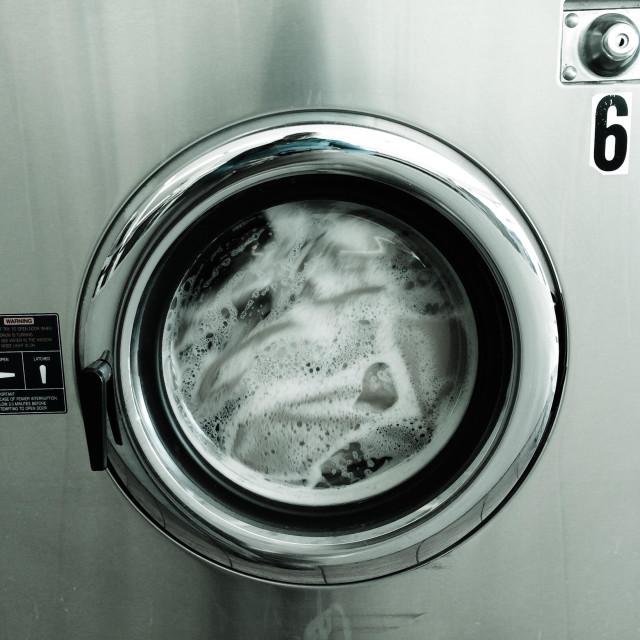 """Laundry in washing machine"" stock image"