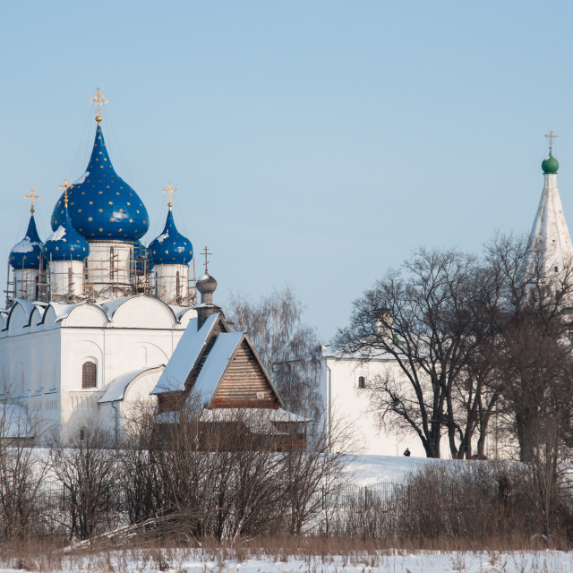 """""""The Cathedral of the Nativity of the blessed virgin Mary in Suzdal in winter"""" stock image"""