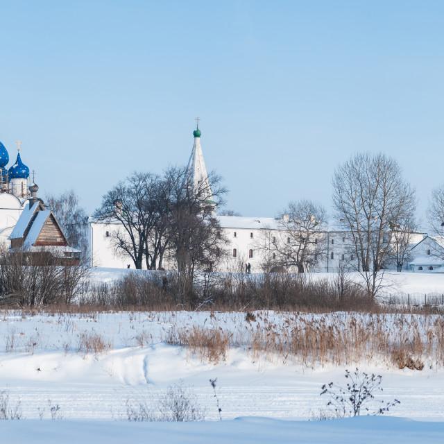 """Panorama of the Suzdal Kremlin in winter"" stock image"