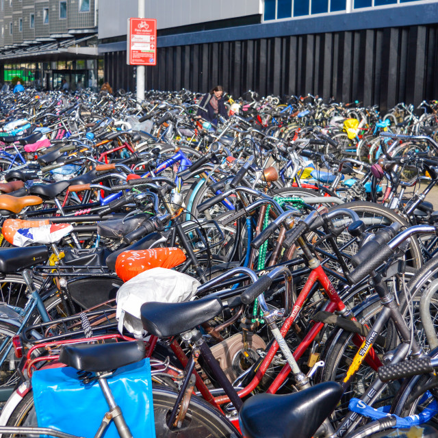 """Bicycle parking in the Amsterdam city center"" stock image"