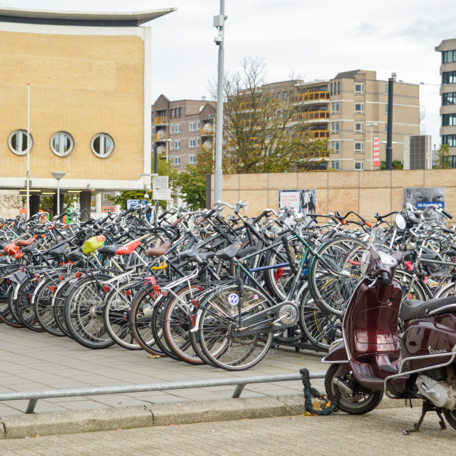 """Bicycle parking in Eindhoven, the Netherlands"" stock image"