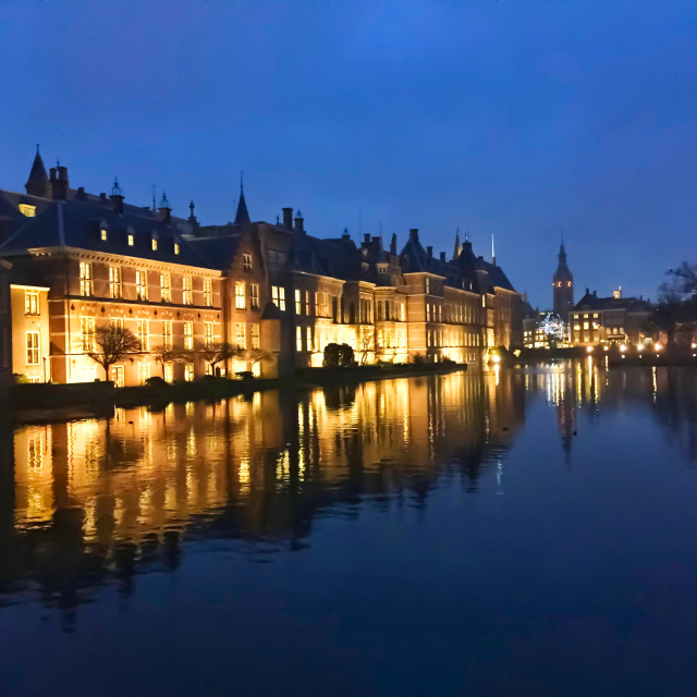 """The Hague at night"" stock image"