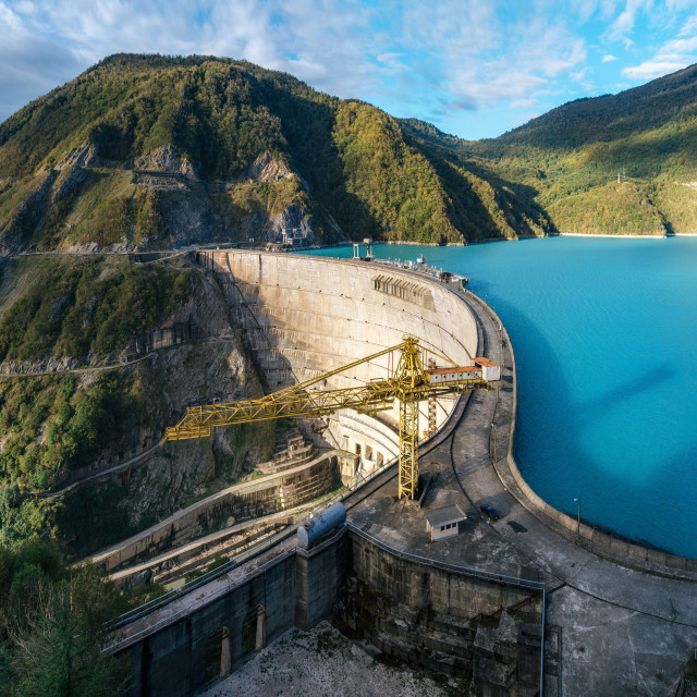 """""""Panoramic view of Enguri hydroelectric power station HES in Georgia"""" stock image"""