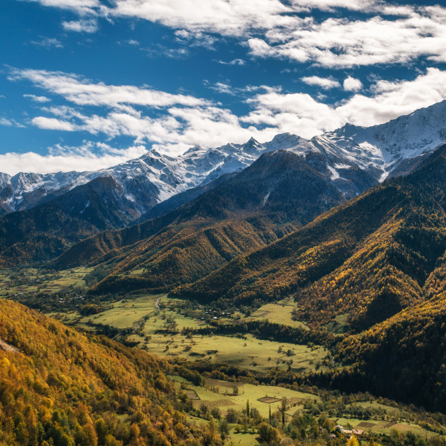 """""""Valley of Enguri river at foot of mountains, Georgia"""" stock image"""