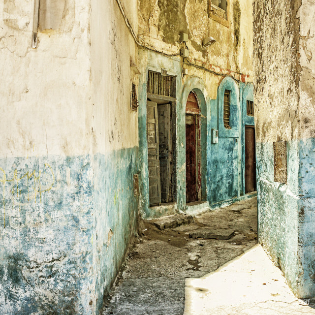 """Colorful weathered street"" stock image"