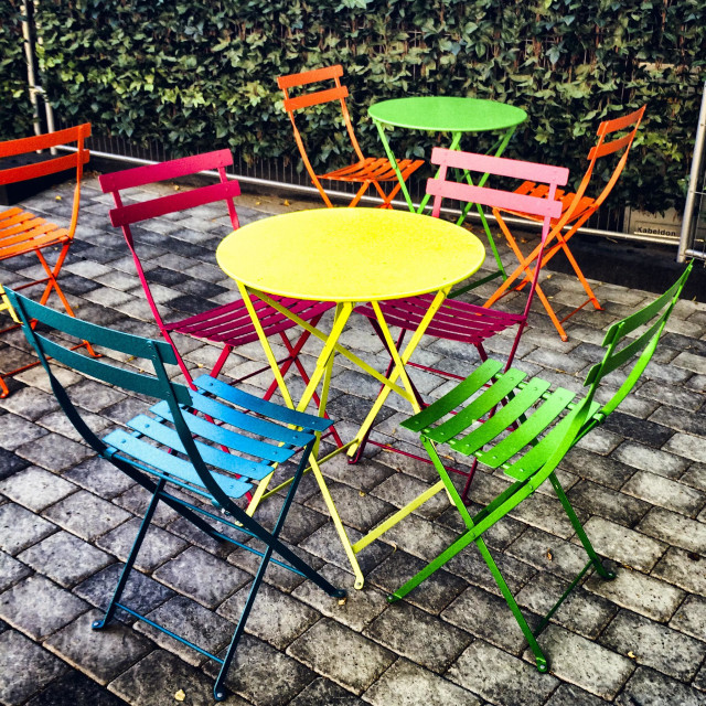 """""""Colourful outdoor tables and chairs"""" stock image"""