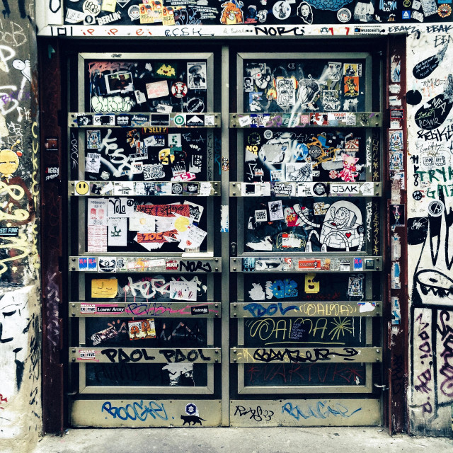 """""""Building with graffiti, Hackesche Hofe, Mitte, Berlin, Germany"""" stock image"""