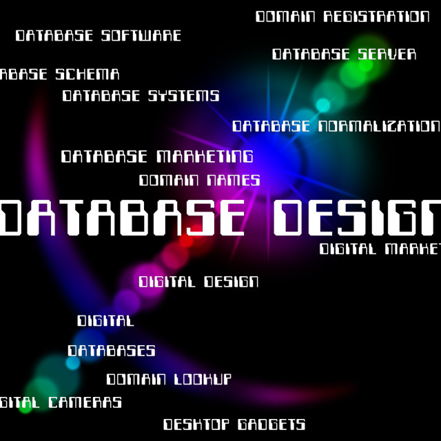"""""""Database Design Represents Word Computing And Designers"""" stock image"""