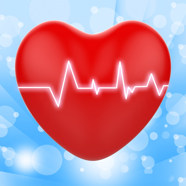 """Electro On Heart Shows Passionate Relationship Or Heartbeats"" stock image"