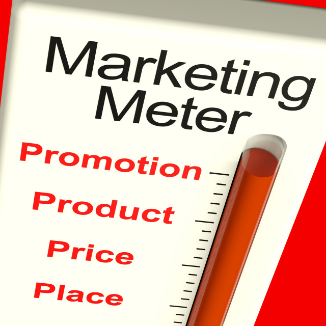 """Marketing Meter With Product And Promotion"" stock image"