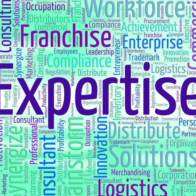 """Expertise Word Represents Educated Wordclouds And Specialist"" stock image"