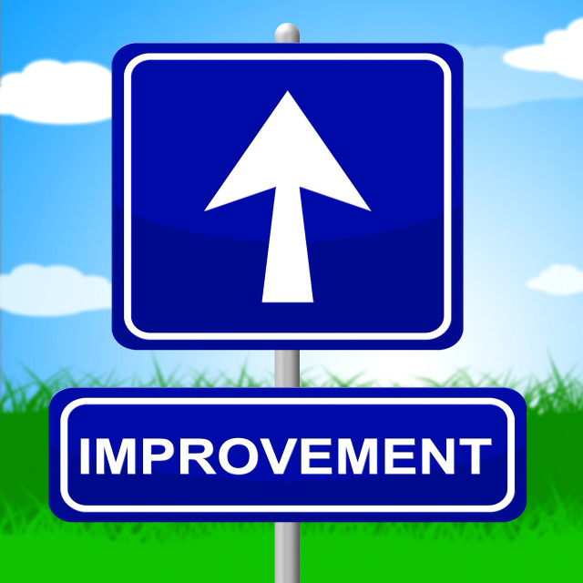 """Improvement Sign Means Upward Progress And Advancing"" stock image"