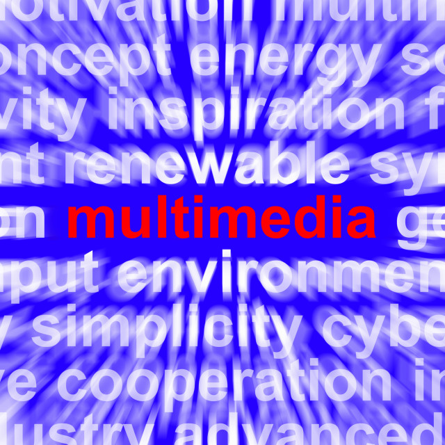 """""""Multimedia Word Showing Digital Technology For Movies And Broadcasting"""" stock image"""
