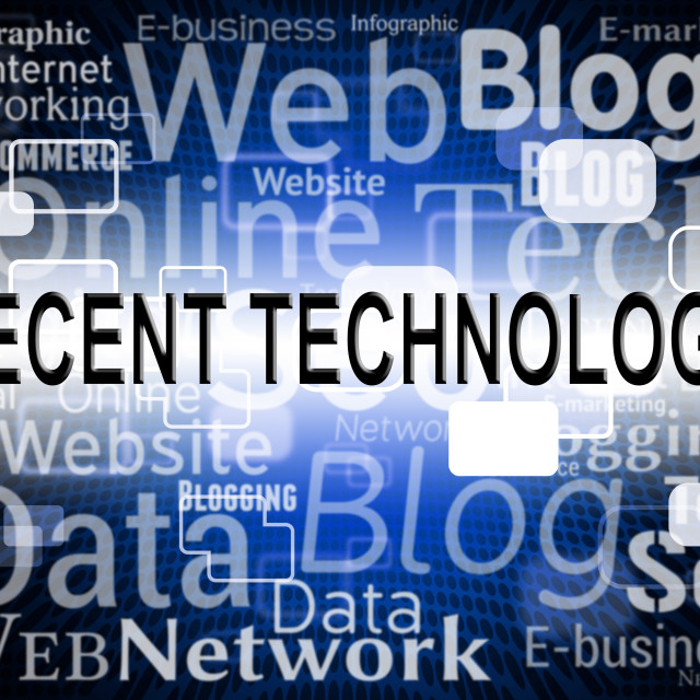 """""""Recent Technology Indicates Headline Digital And Breaking"""" stock image"""