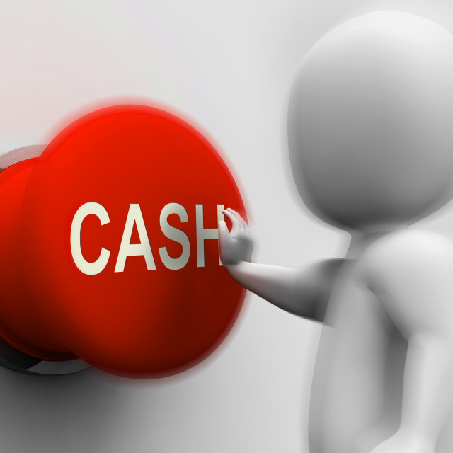 """""""Cash Pressed Shows Money Earning And Spending"""" stock image"""