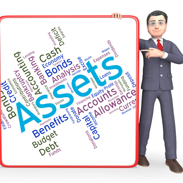 """""""Assets Words Represents Owned Capital And Holdings"""" stock image"""