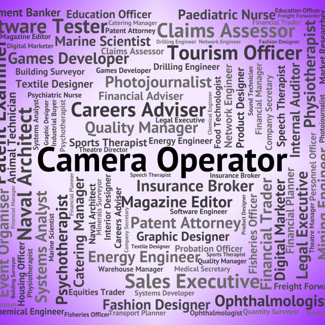 """Camera Operator Shows Cameras Job And Machinist"" stock image"