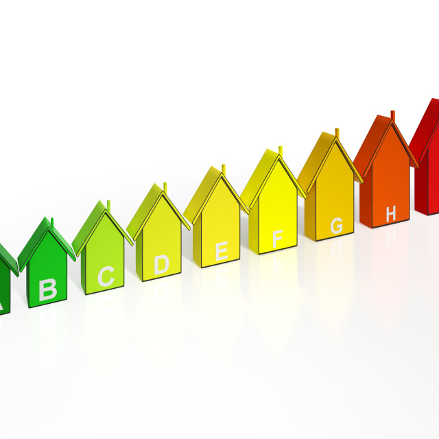 """""""Energy Efficiency Rating Houses Show Eco Buildings"""" stock image"""