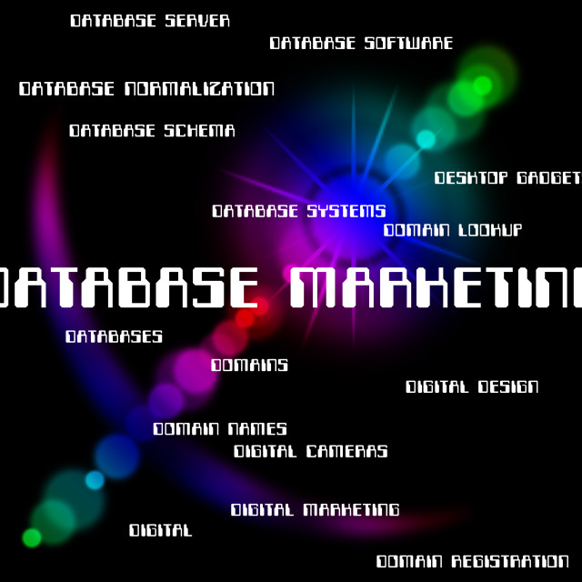 """""""Database Marketing Means Word Promotions And Words"""" stock image"""