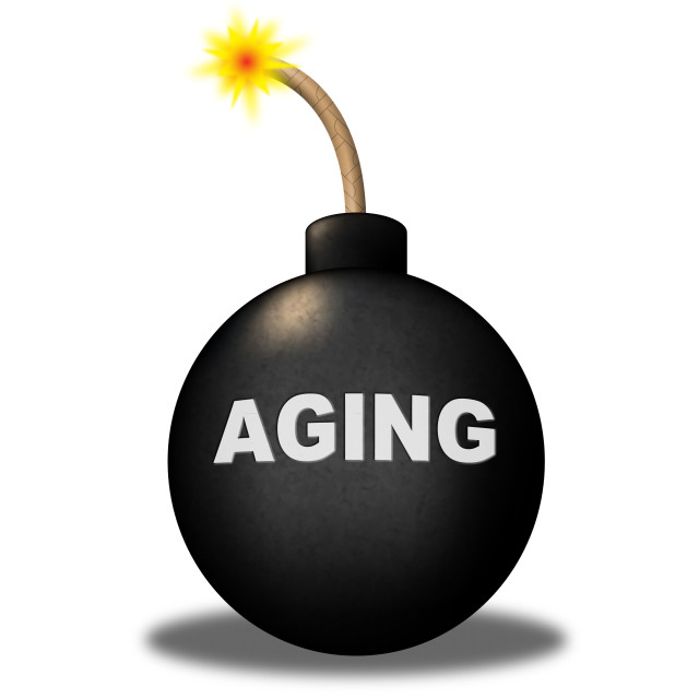 """""""Aging Bomb Means Golden Years And Alert"""" stock image"""