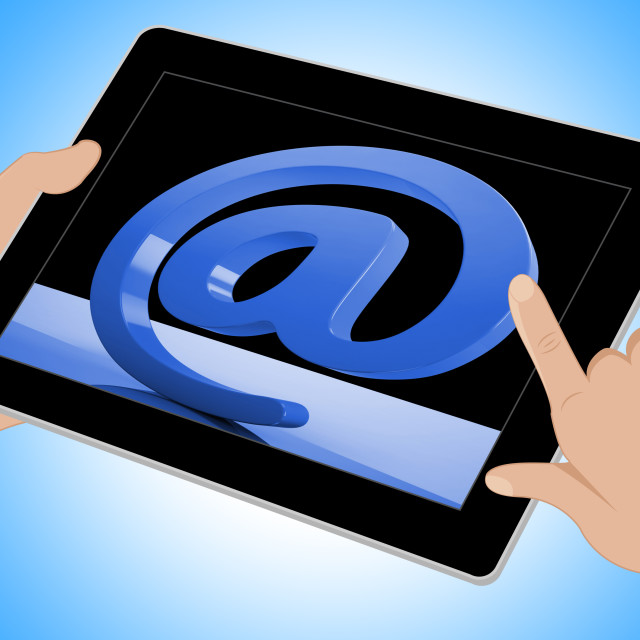 """""""At Sign Mean Email Correspondence on Web Tablet"""" stock image"""