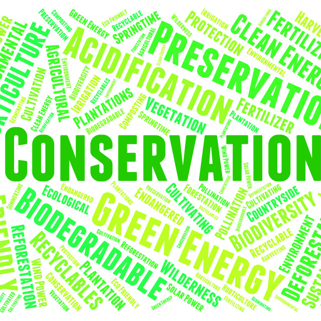 """""""Conservation Word Indicates Earth Friendly And Conserving"""" stock image"""