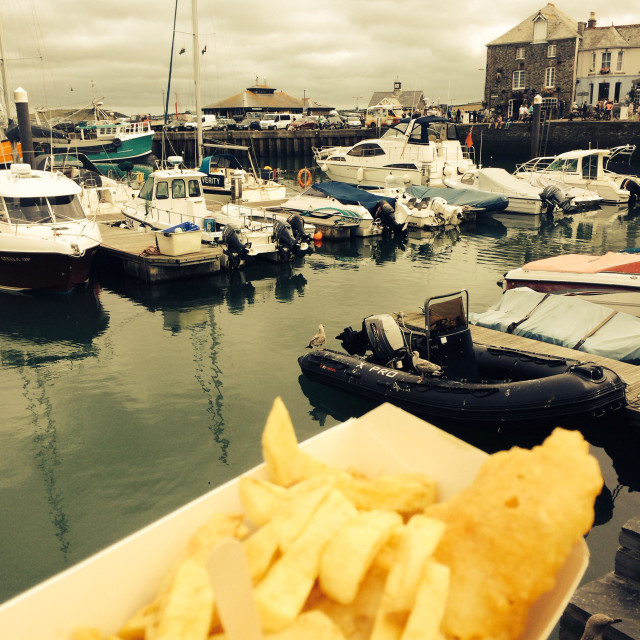 """""""Fish and chips, Padstow harbour"""" stock image"""