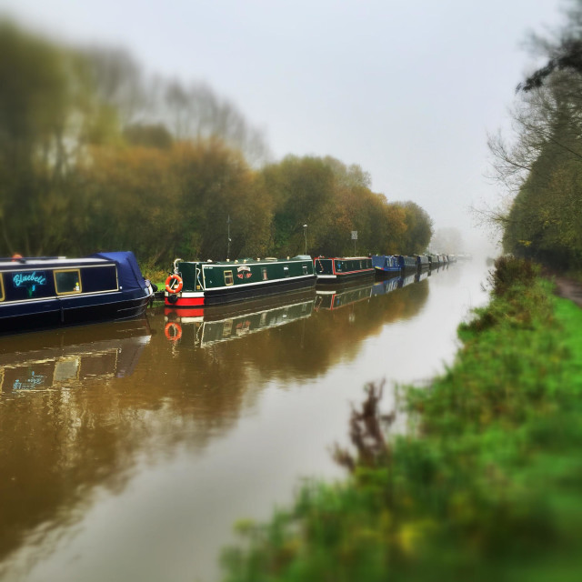 """""""Misty morning on the Kennet and Avon canal"""" stock image"""