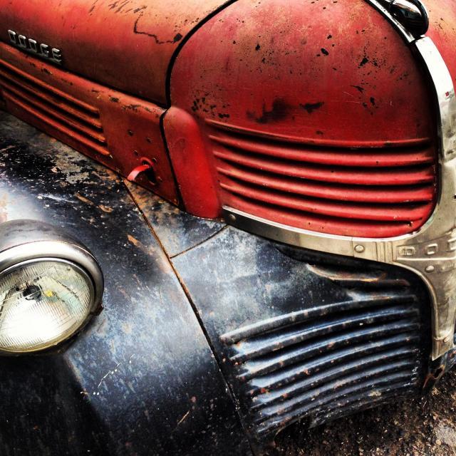 """Black and red vintage Dodge truck"" stock image"