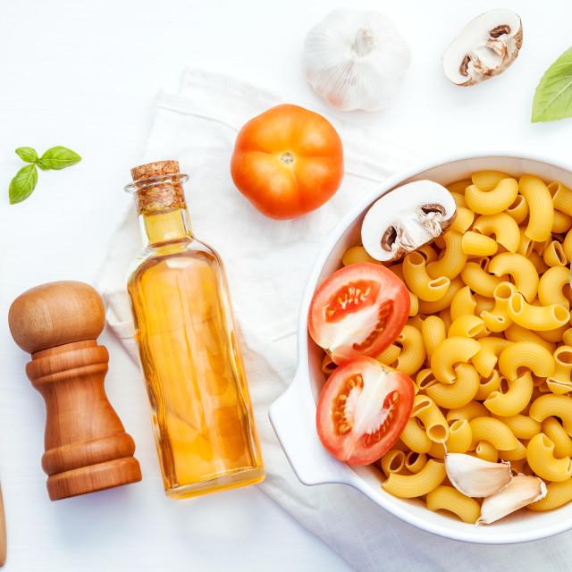 """Italian foods concept and menu design . Pasta elbow macaroni with..."" stock image"