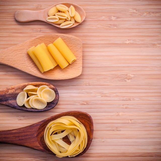 """Italian foods concept and menu design . Various kind of Pasta Fettucini..."" stock image"