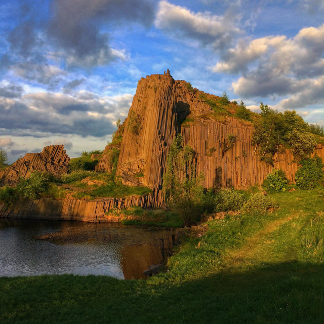 """Basalt rock in the evening light"" stock image"