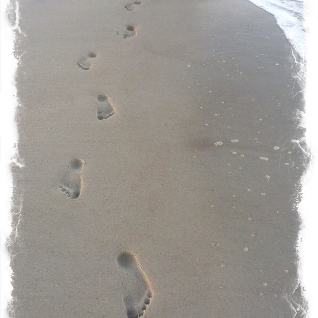 """Single set of footprints in the sand, Jacksonville Beach, Florida, USA."" stock image"