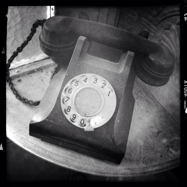 """Dusty old style telephone"" stock image"