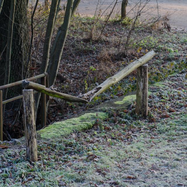"""""""Broken Fence In Winter"""" stock image"""