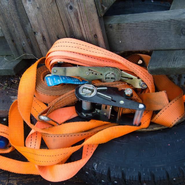 """some orange straps to security"" stock image"