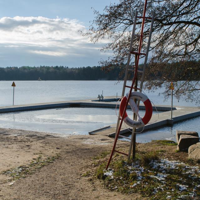 """""""bath seat att sisjon a lovely little lake"""" stock image"""