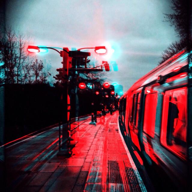 """Metropolitan line train, London, England, UK"" stock image"
